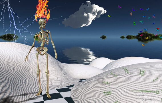 Skelton in Surreal Desert