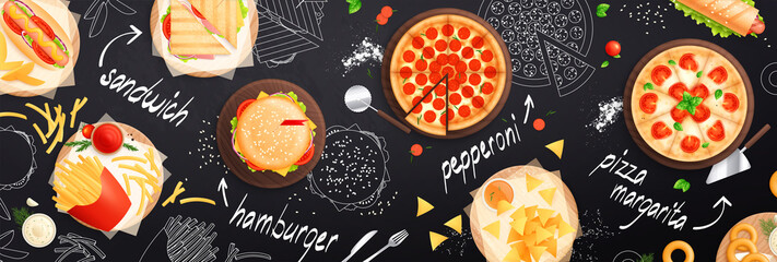 Obraz Fast Food Seamless Pattern - fototapety do salonu
