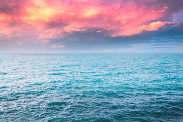 Fototapeta Sea Ocean And Blue Sky Background With Cloudscape in Summer obraz