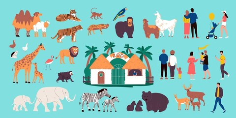 Fototapeta premium Zoo Color Set
