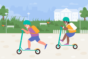 Obraz Kids play scooters in city park, sport outdoor activity vector illustration. Cartoon boy friend child characters playing kick scooter, children in safety helmets, friendship and childhood background - fototapety do salonu