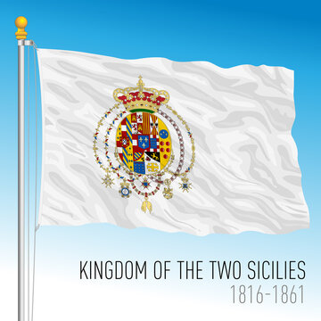 Kingdom of Two Sicilies historical flag, Italy, 1816 - 1861, vector illustration