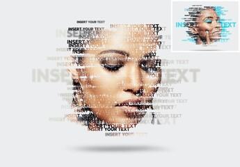 Obraz Text Masking Portrait Photo Effect Mockup - fototapety do salonu