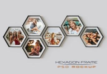 Obraz Hexagon Photo Frames Mockup Hanging on Wall - fototapety do salonu