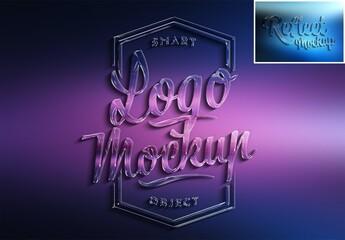 Fototapeta Logo Mockup with 3D Glossy Effect and Gradient obraz