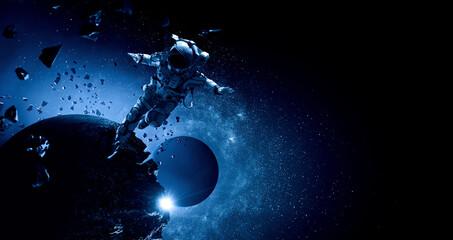 Fototapeta Astronaut at spacewalk . Mixed media obraz