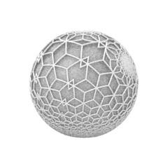 Fototapeta 3D vector illustration. Abstract geometric shape, dotwork style. obraz