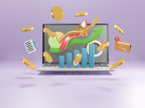 Business arrow direction to success. Data Analysis chart increase profit. Financial success and growth concept. 3d illustration.
