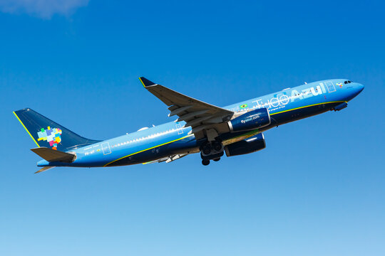 Azul Airbus A330-200 airplane Lisbon airport in Portugal Tudo Azul special livery