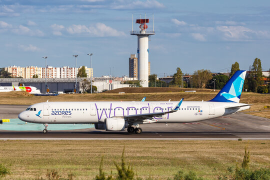 Azores Airlines Airbus A321neo airplane Lisbon airport in Portugal