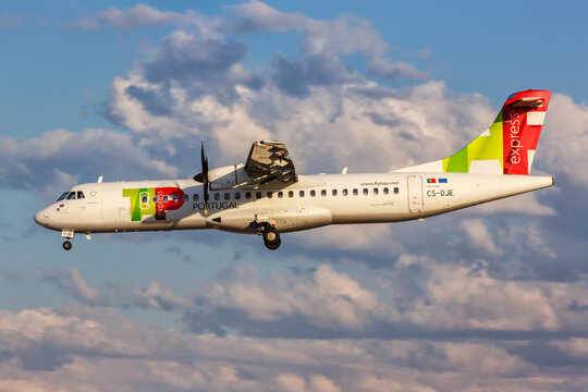 TAP Portugal Express ATR 72-600 airplane Lisbon airport in Portugal