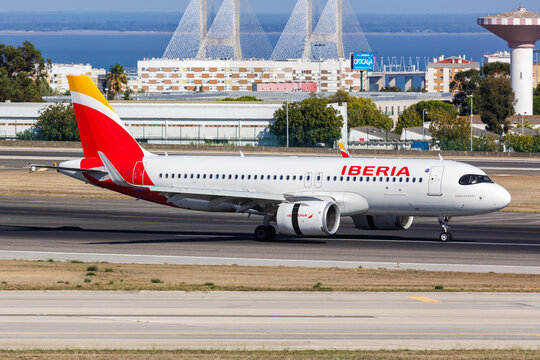 Iberia Airbus A320neo airplane Lisbon airport in Portugal