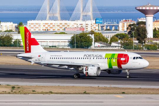 TAP Air Portugal Airbus A319 airplane Lisbon airport in Portugal