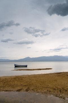 lonely boat on lake Prespa North Macedonia