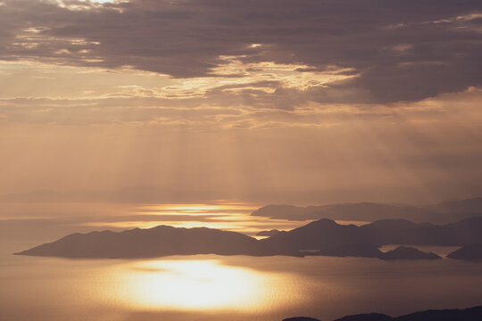 beautiful aerial panorama of mountains islands and sea at sunset