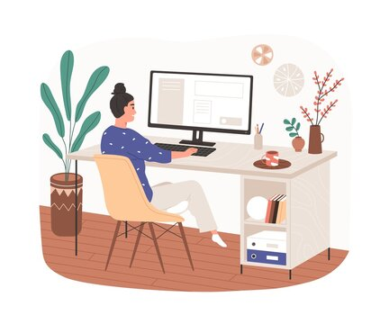 Woman work at home office with cozy modern workplace. Remote employee on chair working online at desk with desktop computer and coffee cup. Flat vector illustration isolated on white background