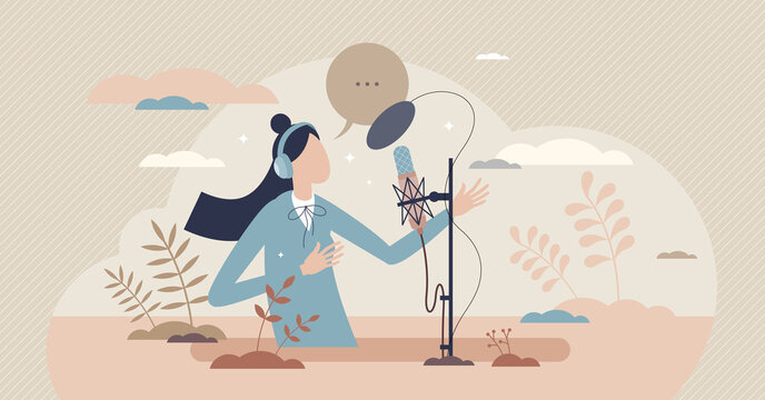 Voice over acting performance artist in recording studio tiny person concept. Professional speech talent as dramatic profession vector illustration. Expressive storytelling for audio record or radio.