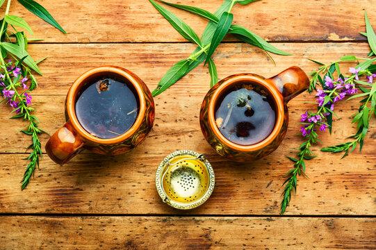 Healing fireweed tea,rustic wooden table