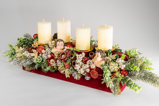 Christmas table composition. Beautiful decoration. Christmas trees, candles, stars, lights and elegant accessories. Merry Christmas and Happy Holidays, Template.