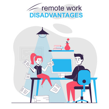 Remote work disadvantages isolated cartoon concept. Child distracts father working at home, people scene in flat design. Vector illustration for blogging, website, mobile app, promotional materials.