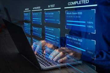 Obraz Agile software development with developer using Kanban board framework methodology on computer. Devops team, lean project management tool for fast changes, incremental work, iterative process. - fototapety do salonu