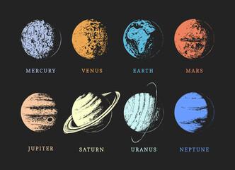Obraz Solar system planets, drawn sketches in vector. - fototapety do salonu