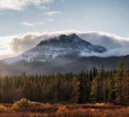 Obraz Autumn mountain forest lake water landscape. - fototapety do salonu