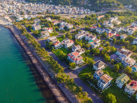 Drone view of Nha Trang city and An Vien village, Vietnam