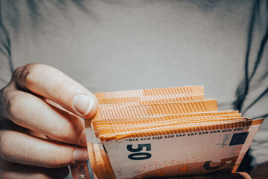 Banknotes in hands, euro currency
