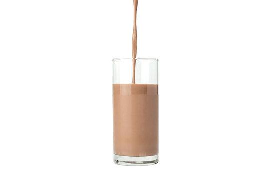 Chocolate milk on a white background.