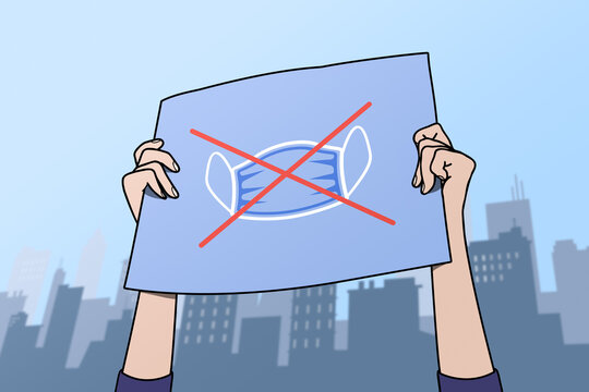 Illustration of a protest against chirurgical mask