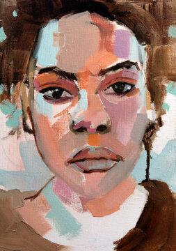 Beautiful African woman portrait in oils with splatter