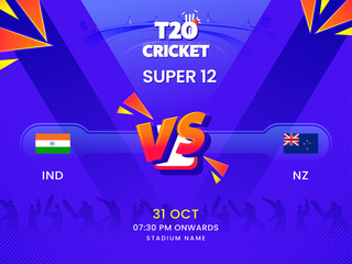 Obraz T20 Cricket Super 12 Match Between India VS New Zealand On Violet Silhouette Players Background. - fototapety do salonu