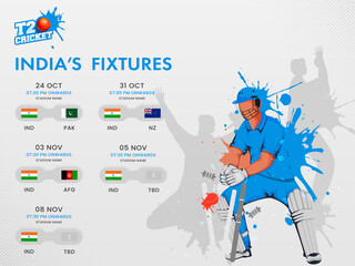 Obraz T20 Cricket India's Fixtures Schedule Poster Design With Participate Countries And Splash Effect Wicket Keeper On Gray Background. - fototapety do salonu
