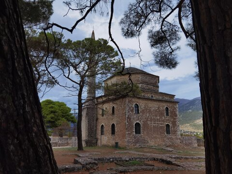 moque in ioannina city, inside the castle and pine trees around , in greece