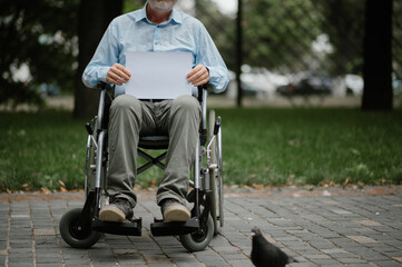 Obraz Adult disabled man in wheelchair walking in park - fototapety do salonu