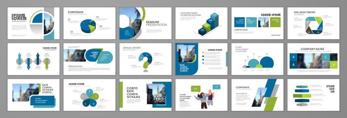 Fototapeta Business presentation infographic template set. Keynote presentation background, slide templates, website ideas, brochure cover design, landing page, annual report brochure. Vector Illustration obraz