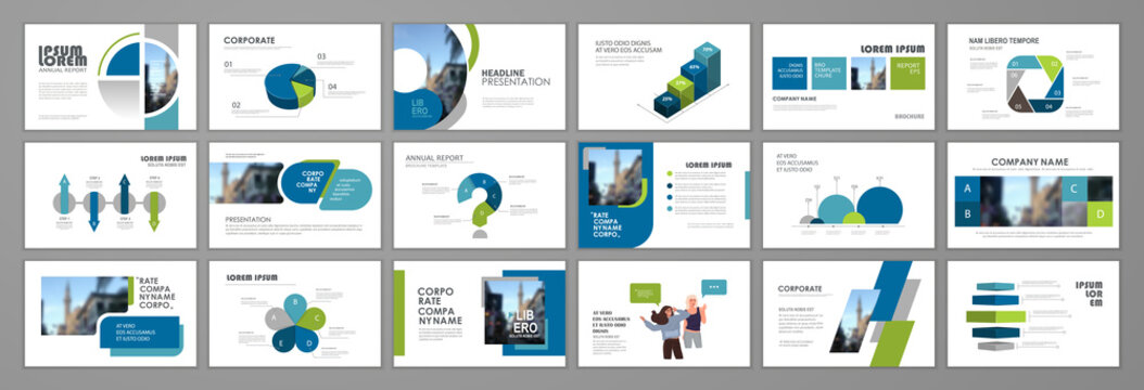 Business presentation infographic template set. Keynote presentation background, slide templates, website ideas, brochure cover design, landing page, annual report brochure. Vector Illustration