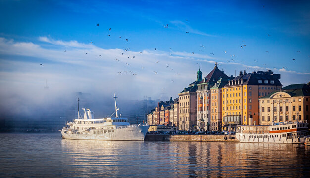 Cityscape of Gamla Stan city district in central Stockholm, Sweden