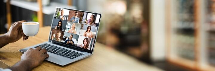 Obraz Virtual Video Conference Call Coffee Break - fototapety do salonu