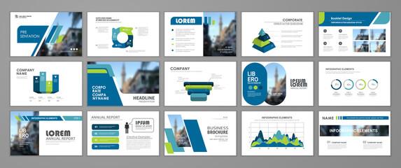 Fototapeta Modern presentation slide templates. Infographic elements template  set for web, print, annual report brochure, business flyer leaflet marketing and advertising template. Vector Illustration obraz