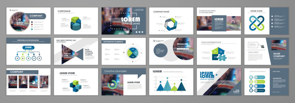 Presentation templates design. Vector templates portfolio with infographic elements. Multipurpose template for brochure cover, annual report, advertising, presentation slide, flyer leaflet.