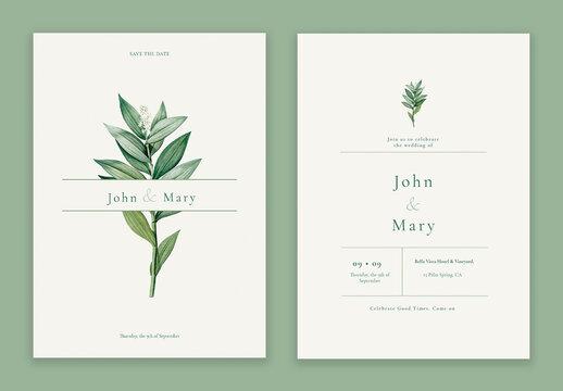 Flower Wedding Invitation Card Layout