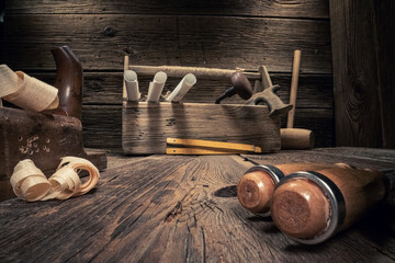 Obraz Vintage carpentry tools. with tampers, chisels and planes. - fototapety do salonu