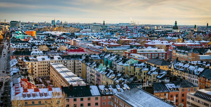 Cityscape of central Stockholm, Sweden in winter