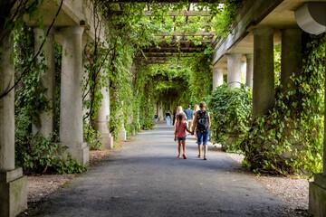 Fototapeta alejka ogrodu i spacerujący ludzie obraz