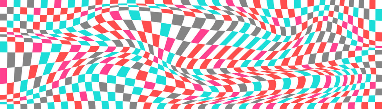Checkered background with distorted squares