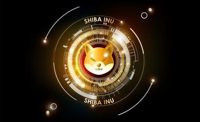 Obraz Shiba Inu SHIB cryptocurrency token, futuristic digital money background, Shiba Inu coin of DeFi project in circle with PCB tracks technology, vector illustration - fototapety do salonu