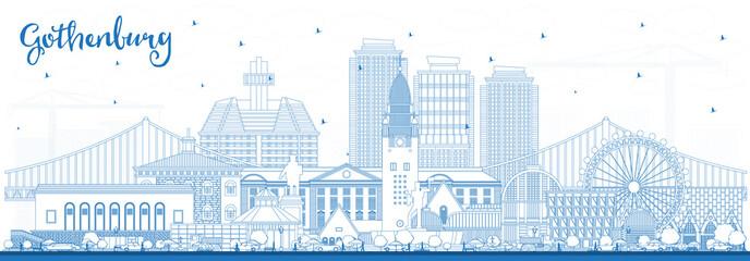 Obraz Outline Gothenburg Sweden City Skyline with Blue Buildings. - fototapety do salonu