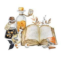 Obraz Halloween watercolor illustration. Magic book, potion, fly agaric and eye.. - fototapety do salonu
